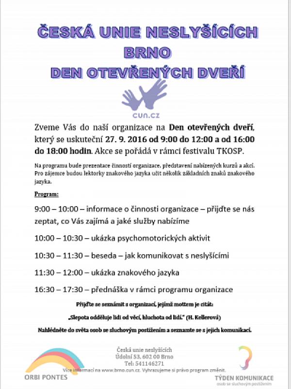 Den otevřených dveří - Česká unie neslyšících Brno